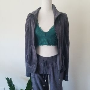 Whisper Gray Velour Track Suit Jacket Pant Small